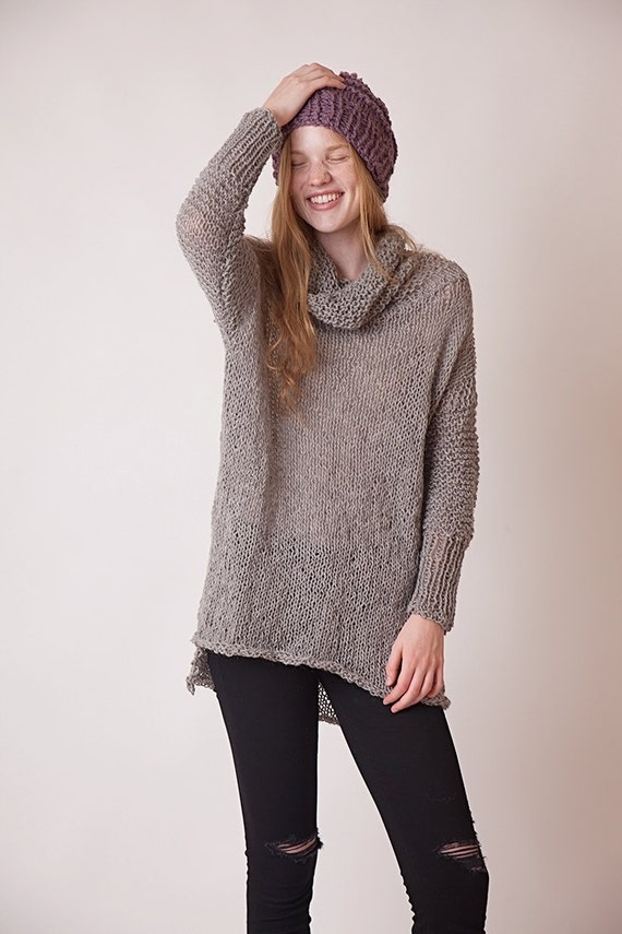 Slouchy oversized gray turtleneck sweater long sleeves cowl