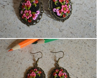 Flower jewelry Gift idea|for|girl Pink Flower earrings Pink|and|black Jewelry handmade Gift|for|wife Pink earrings Daughter Gift|for|her art
