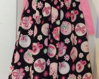 Pink & Black Butterfly Pillowcase Dress Size 4T