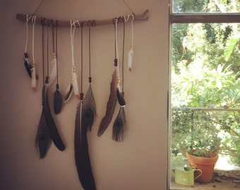 Flight of Feather - Bohemian Feather Dreamcatcher Wall Hanging (natural) - Large