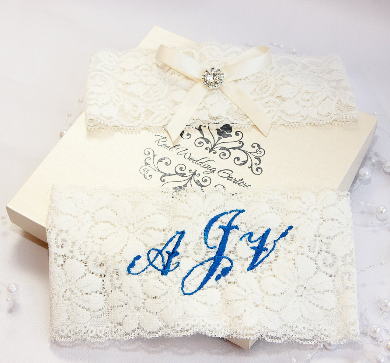 Boxed Of 2 Garter Set Personalized Monogrammed Wedding Garters