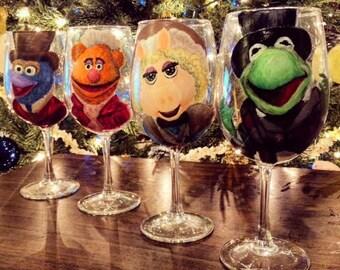 Muppets Christmas Carol Decorative Wine Glass Set
