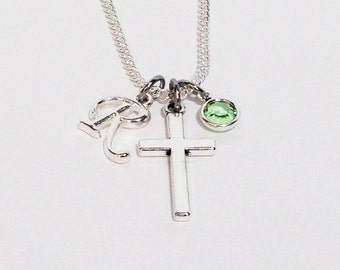 Mothers Day, Mothers Day Gift, Cross Necklace, Silver Cross Necklace, Personalized Necklace, Religious Jewelry, Cross Jewelry, Gift for Her