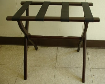 Espresso Curved Leg Luggage Stand W/ 4 Leather Straps