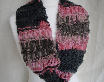 pink infinity scarf, woman knit cowl, pink mix neckwarmer, acrylic mix cowl, knit infinity scarf, grey pink cowl, knitted neckwarmer, scarf