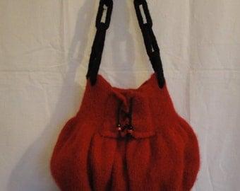 red felt bag, felted wool bag, OOAK red handbag, felted handbag, red and black bag, bag with lacing, cheeky red bag, corset design bag, bag