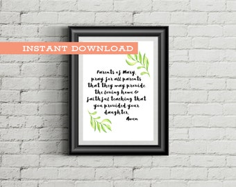 Parents Prayer Digital Download, Last Minute Gifts for Parents, Catholic Gifts for Moms, Printable Prayers