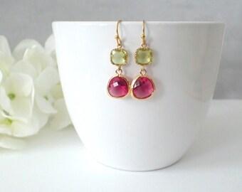 Gold Framed Apple Green And Pink Glass Dangle Earrings