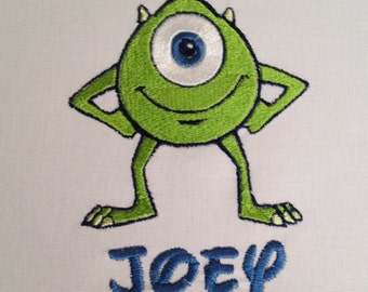 Monsters Inc Baby Shower, Monsters Inc Birthday Shirt, Monsters Inc Shirt, Mike Wazowski Shirt, Monsters Inc Personalized Shirt, Embroidered