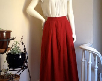 80s Candy Apple Red Flowy Midi Wool Skirt - Vintage, by Evan-Picone