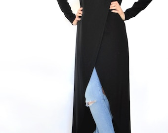 Long Line Top / Long Top with Sleeves / Maxi Top / Asymmetric Top / Loose Top / Modest Black Top / Plus Size Top / Loose Fit Top / Black Top