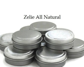 Ten (10) .5 Ounce round metal tins containers, Great for homemade Salves, Lotion Bars, Lip balms, Solid Perfumes, Storage for Small Items.