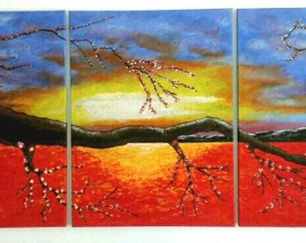 Red vibrant sunset canvas art acrylic www.artkishgallery.com