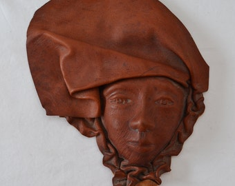 Vintage Caribbean Hand Tooled Face Sculpture