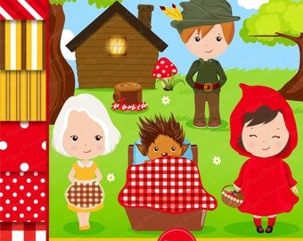 Little Red Riding Hood Clipart, Little Red Riding Hood Graphics, Red Riding Hood Party, Digital Clipart - CL160