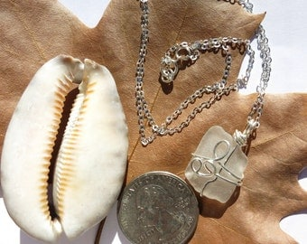 White sea glass necklace wrapped in silver wire, beach glass necklace
