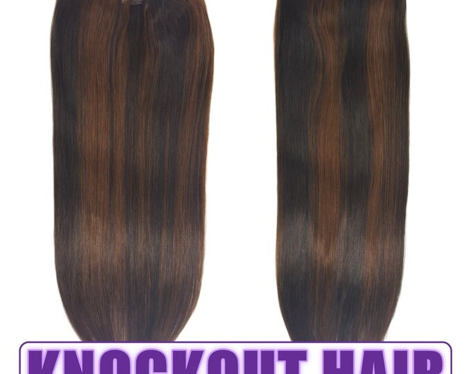"Fits like a Halo Hair Extensions 20"" Dark Brown/Medium Golden Brown Mix (#2/3) - Human No Clip In Flip In Couture by Knockout Hair"