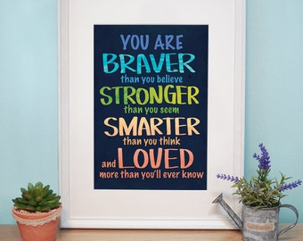 Printed :  you are braver than you believe _ Poster