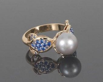 Art deco ring, Pearl ring, White pearl ring, Rose gold ring, Woman ring gold, 14k gold ring, Elegant ring, Modern ring, Everyday ring