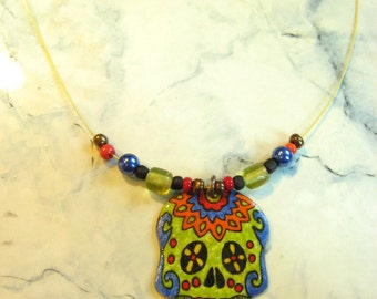 Skull pendant, sugar skull, sugar, copper enamel, skull pendant green lime, colored during