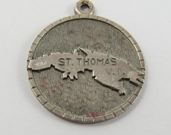 Map of Outline of Island of St. Thomas Virgin Islands with Man Beating Drum on Reverse Sterling Silver Charm or Pendant.