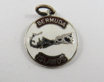 Enameled Map of The Bermuda Islands Sterling Silver Charm or Pendent.