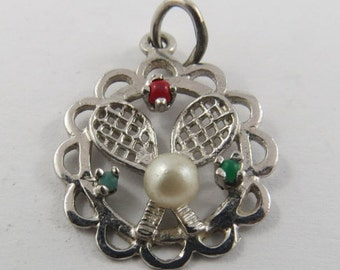 Pair of Tennis Rackets Sterling Silver Charm.