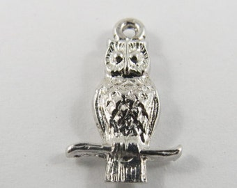 Owl Perched on a Branch Sterling Silver Charm or Pendant.