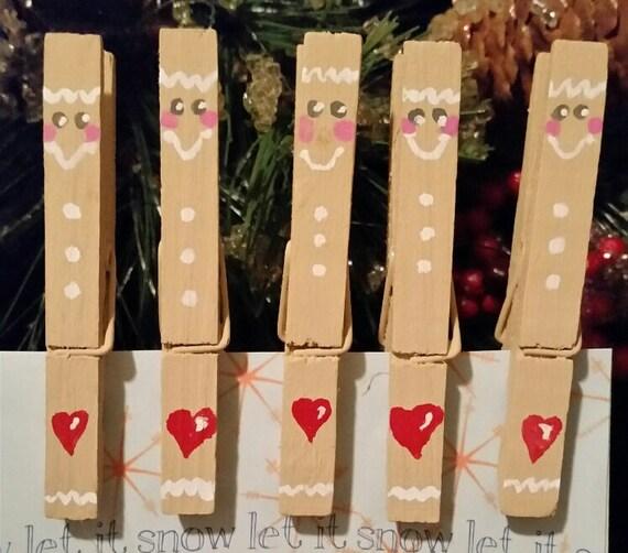 Gingerbread Man Christmas Card Holder Hanger Clip Clothes