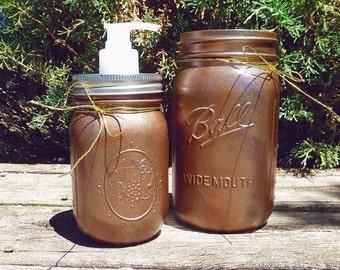 Bronze Mason Jar soap dispenser and jar Set of 2
