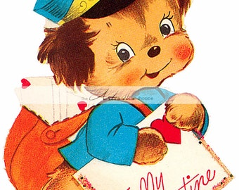 Printable Art Download - Vintage Retro Valentine Mail Dog - Paper Crafts Altered Art Scrapbook - Valentine's Day Card Image Puppy Mailman