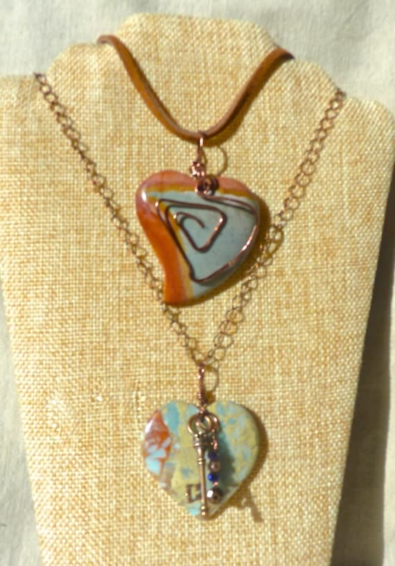 Red Heart Necklace, Jasper stone necklace, Valentines Day gift for women for teen for girlfriend rustic necklace copper leather necklace