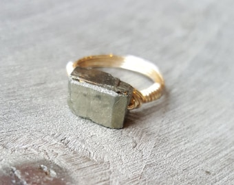 Genuine Raw Pyrite Ring