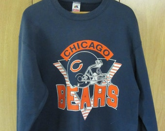 Vintage Chicago Bears crewneck sweatshirt VTG Bears football helmet blue sweatshirt retro Chicago football - Large
