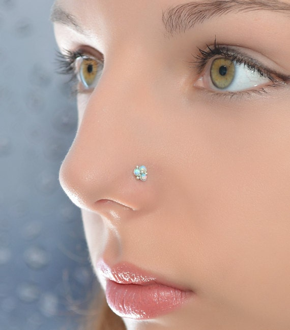 2mm blue opal nose stud silver nose piercing helix. Black Bedroom Furniture Sets. Home Design Ideas