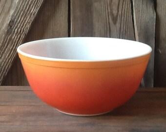 Vintage Pyrex, milk glass, mixing bowl, orange