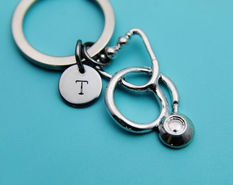 Stethoscope Keychain, Charm Keychain, Stethoscope Pendant, Initial Keychain, Gift for Medical, Gift for Doctor, Gift for Medical Student