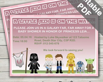 Star Wars Baby Shower Invitations. Baby Girl (Pink). Editable/Printable. Instant Download.