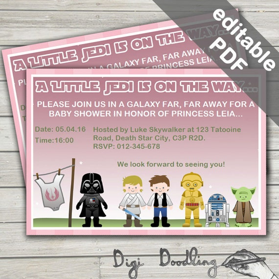 star wars baby shower invitations baby girl pink editable
