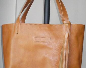 Leather Bag  Camel Color, Leather Tote Bag, Large, CarryAll, Shoulder Bag, Shopping Bag, Handbag,