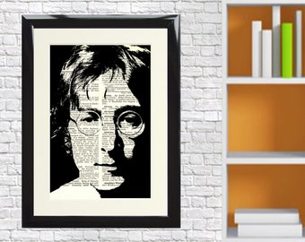 Dictionary Art Print John Lennon music Beatles Liverpool Framed Vintage Poster Picture Handmade Original Artwork Book Page  free UK postage