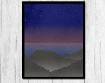 Sunset Print Digital Download Abstract Sunset Print Blue Wall Art Gray Wall Art Minimalist Print Night Sky Print Wall Prints Printable Art