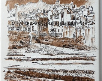 Robin Hood's Bay Drawing in Pen and Ink on Canvas By Artist Suzie Nichols ( yorkshire beach cottages houses seaside rock pools sand )