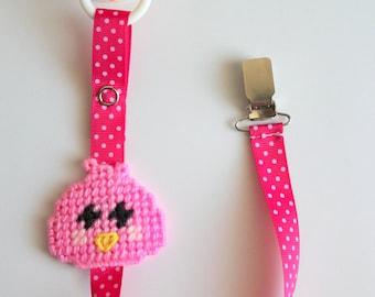 Girl pacifier clip,pink bird pacifier clip,Bird pacifier holder,baby shower gifts,baby pacifier clip