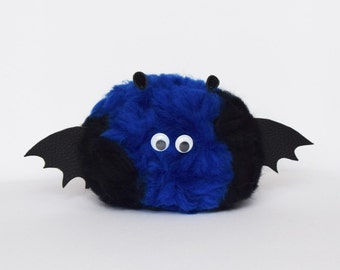 Little bat monster pom pom creature, pom pom monster, natural merino wool gift /toy super cute and super soft.