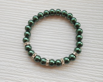 Dark green stretch glass pearls bracelet, beaded jewelry, for wedding, bridal shower, bridesmaid, Mother of the groom, for her
