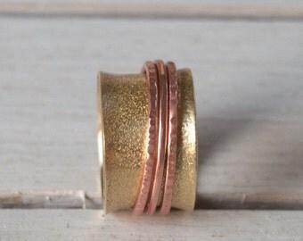 Anxiety ring,Spinner ring,womens ring ,fidget ring , meditation ring , Brass spinner ring, unisex  ring , 3 bands spinner ring
