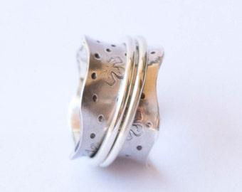 Spinner ring, anxiety ring ,fidget ring , meditation ring , sterling silver ring, asymmetrical spinner ring , 2 bands spinner ring