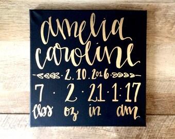Custom birth stats sign- canvas sign, birth stats wall art, nursery decor, birth stats, nursery decor, birth stats canvas, birth stats sign