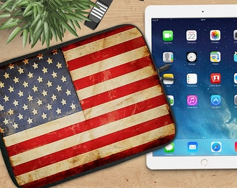 American Flag Ipad Sleeve, Grunge USA Flag Tablet Sleeve, Patriotic Flag Ipad Sleeve, Ipad 2/3/4, Ipad Air Sleeve, Tablet Travel Case